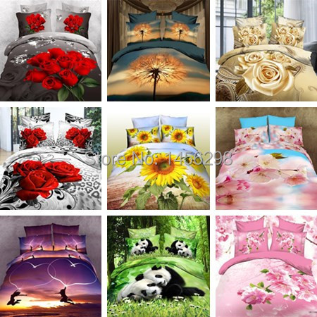 New Free shipping 3D printing activity Bedding Sets Quilt Set linen table Queen and Twin cotton denim(China (Mainland))