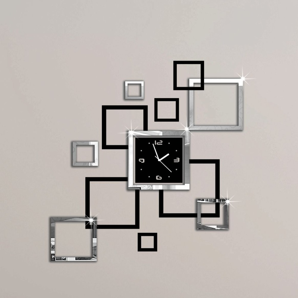 album argent et noir 3d bricolage miroir horloge murale design moderne relojes de pared montre. Black Bedroom Furniture Sets. Home Design Ideas