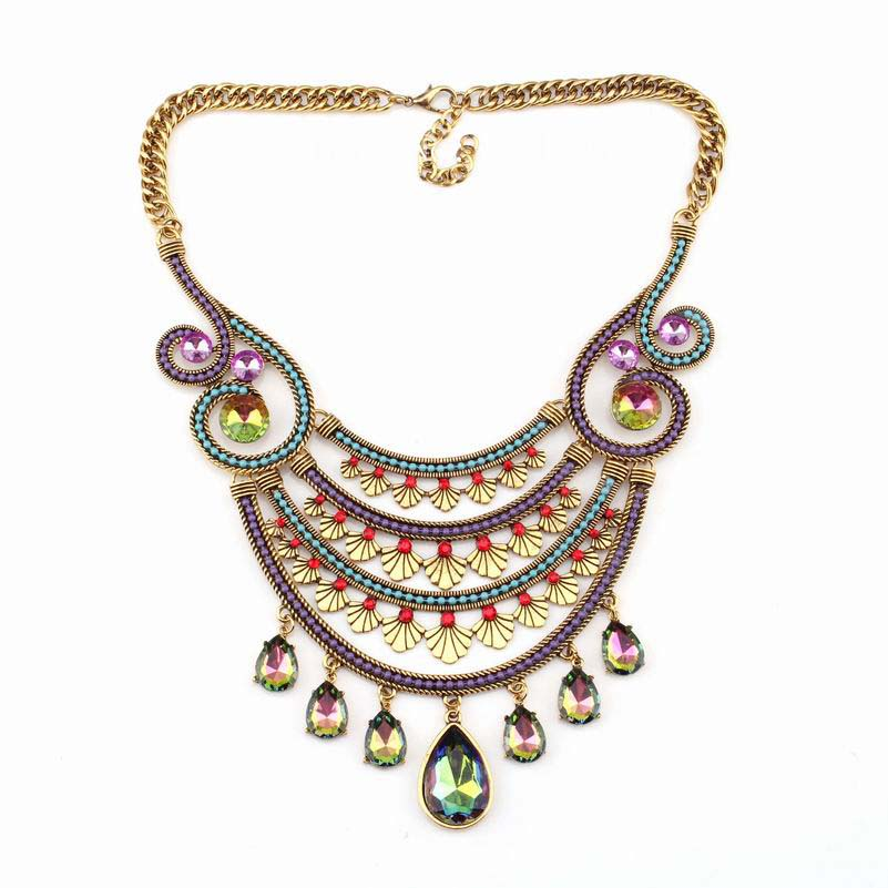 new arrival design fashion brand statement necklace vintage gold chain colorful crystal pendant chunky necklace for women jewel(China (Mainland))