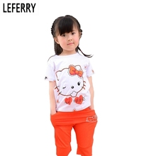 Buy Summer Children Girls Clothing Sets Hello Kitty T-shirt + Shorts Kids Clothes Sets Baby Girl Summer Clothes Korean Fashion for $8.47 in AliExpress store