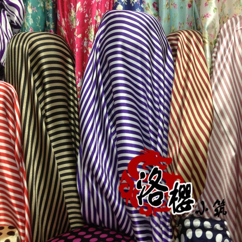 Faux Silk Print Satin Silk Fabric cos costume formal dress baby clothes kimono stripe 13 colour(China (Mainland))