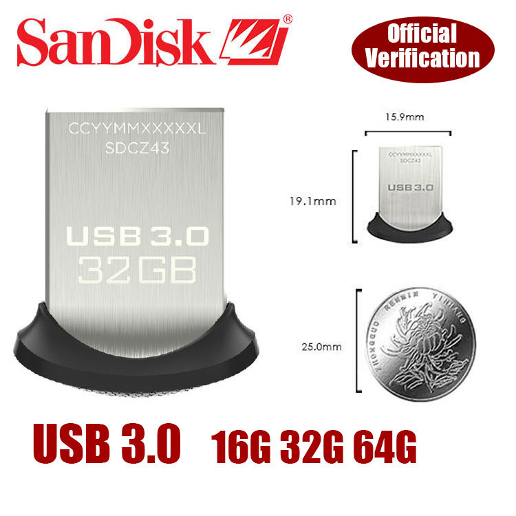 100% Original Genuine Sandisk Glide mini USB 3.0 Flash Drive up to 130m/s SD CZ43 64gb 32gb 16gb Support Official Verification(China (Mainland))