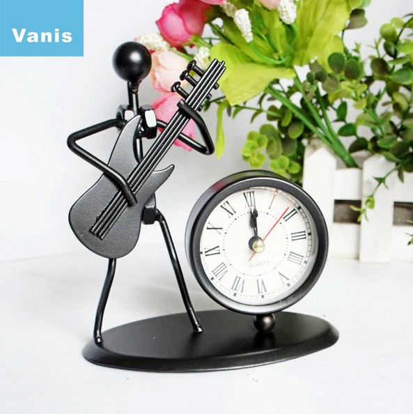 Luxury Metal Art Work Guitar People Alarm Clock Desktop Clocks Table Despertador Children Gift Beauty Decoration Free Shipping(China (Mainland))