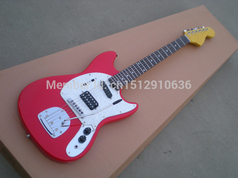 Free shipping F name OEM rosewood fretboard Mustang red electric guitar(China (Mainland))