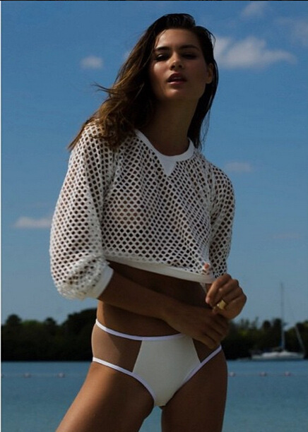 2015 Women's White Solid Pierced sexy fishnet Swimsuit bikini suit stitching Short Blouses Cover ups S M L(China (Mainland))
