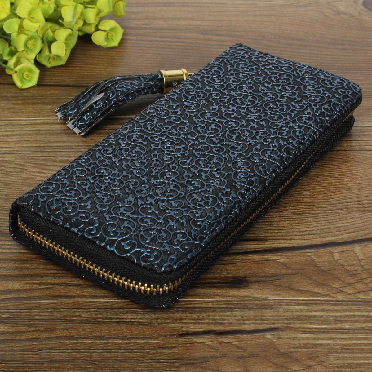 Fashion Women Long Wallets Ladies Tassels Vintage Pattern Purse Carteira Retro Notecase PU Leather Cards Coin Zipper Clutch<br><br>Aliexpress