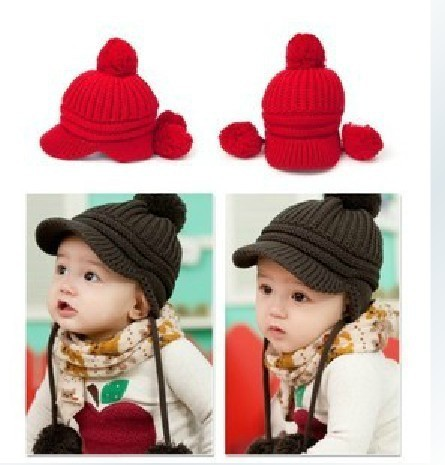 Free shipping,1pcs,2013 Fashion children hat,winter warm knit peaked caps, 3 color, 0-4 years old baby, cap around 40-52 cm
