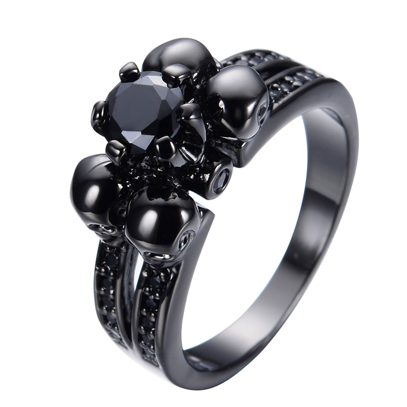 halloween party vintage black sapphire skull jewelry women men ring anel anei - Skull Wedding Rings For Men