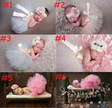 Princess Tulle Tutu with Matching Headband Set Newborn Photography Props Little Girl Tutu Skirt Pageant Birthday Costume Outfit (China (Mainland))