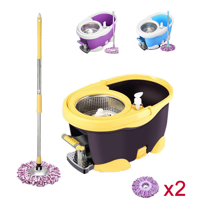 four-drive 360 rotating pedal drive stainless 3 colors easy Magic Floor cleaning mop bucket with 2 Microfiber mopheads(China (Mainland))