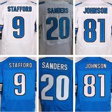 Best quality jersey,Men's 9 Matthew Stafford 20 Barry Sanders 81 Calvin Johnson elite jerseys,White and Blue,Size 40-56(China (Mainland))