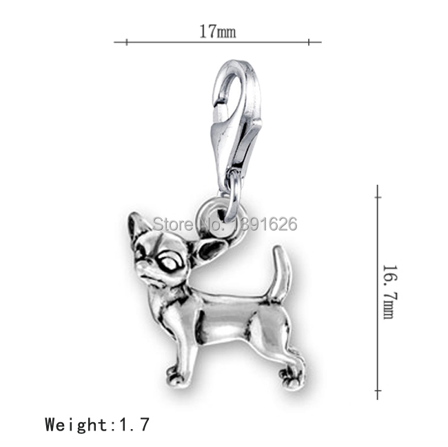 3Personalized Tibetan Silver Animal Series Chihuahua Dog Lobster Clasp Charms Accessories - Tanks&Ashley's store