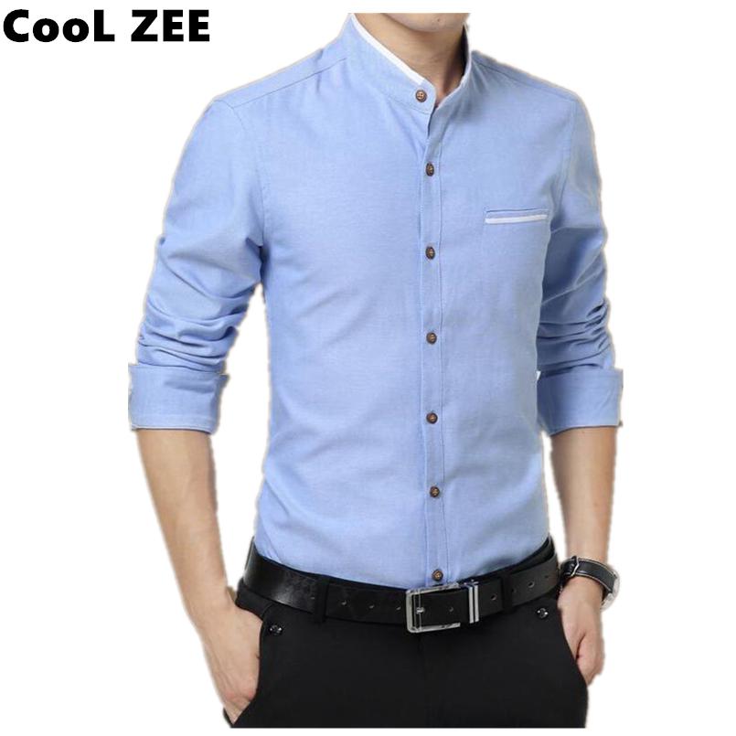 Popular collarless dress shirts buy cheap collarless dress for Men s collarless banded collar dress shirt