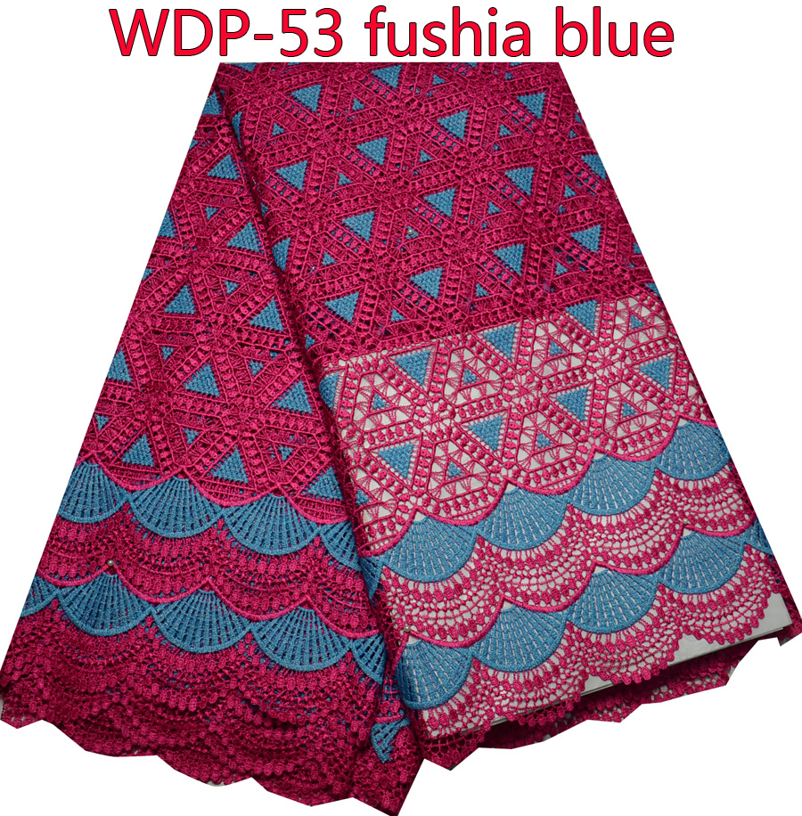 New Arrive High Quality african fushia+blue cord and guipure lace trim fabric 5 Yards WDP-53(China (Mainland))