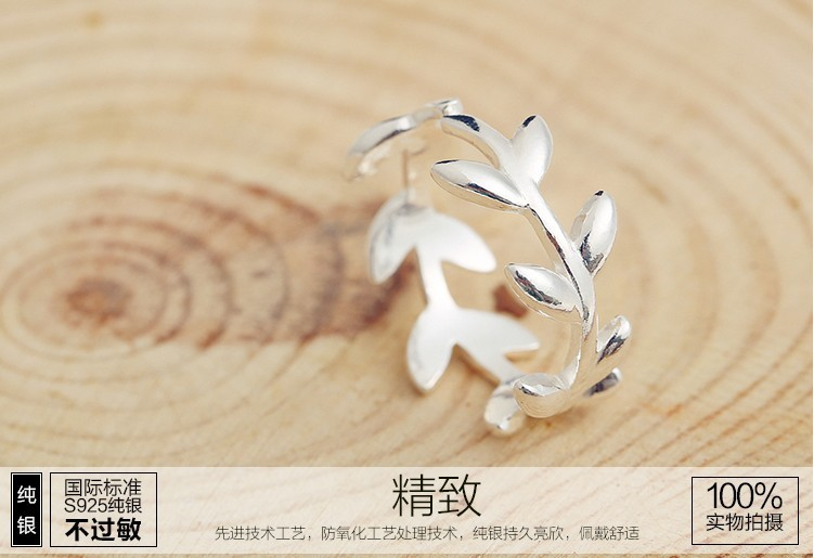 Elegant Fashion Couple Anniversary Laurel leaf Rings for lovers and women 925 Silver J151105
