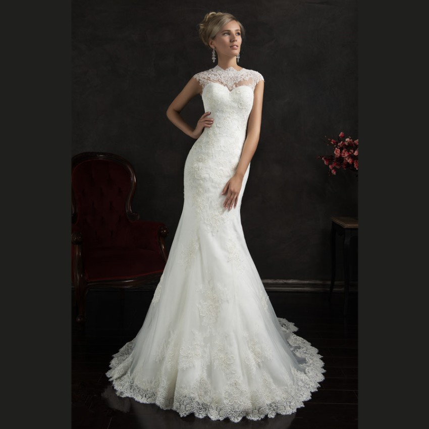 2015 elegant white lace mermaid wedding dresses court for White elegant wedding dresses