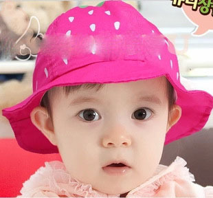 wholesales 1pcs/lot cotton baby girls hat strawberry dot prints child bucket hats baby caps spring summer infant hats M513(China (Mainland))