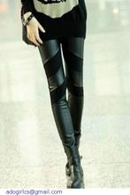 Stylish PU Patchwork Stretch Black fitness  Leggings LC79524 trousers for women slim jegging(China (Mainland))