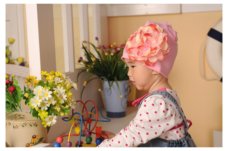 wholesale New Arrival Big Peony Flower Baby Cute Solid Beanie Hat Soft Cotton Infant Toddler Lace Caps for Girls Free Shipping(China (Mainland))
