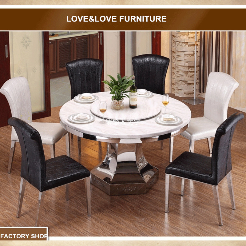 6 seater round dining table stainless steel frame dining table mable top tables 1350*1350*750mm(China (Mainland))