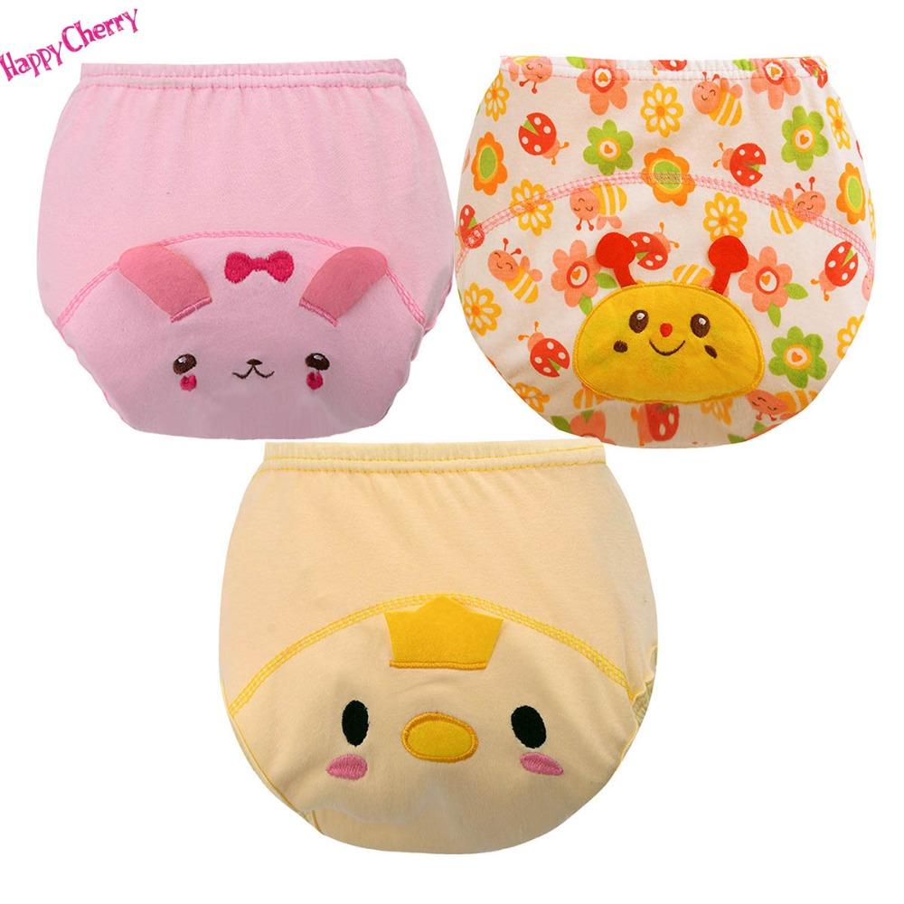 Happy Cherry New 3Pcs/Set Baby Training Pants Children Study Diaper Underwear Infant Learning Panties Newborn Cartoon Diapers(China (Mainland))