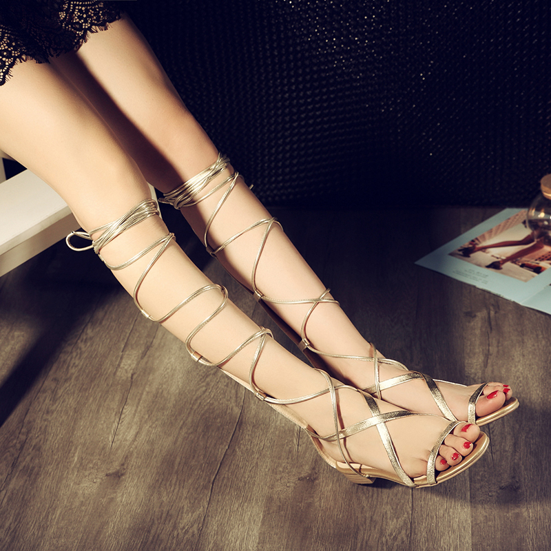 2015 Summer Sandals Casual Cross Lace-Up Knee High Boots Gladiator Sandals Women Shoes Sexy Summer Flat Shoes Big Size 34-43(China (Mainland))
