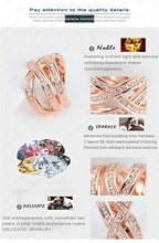 Stylish Style Ring 18K Rose Gold Plated Austrian Crystal SWA Element Women Rings Exaggerated Ring Ri