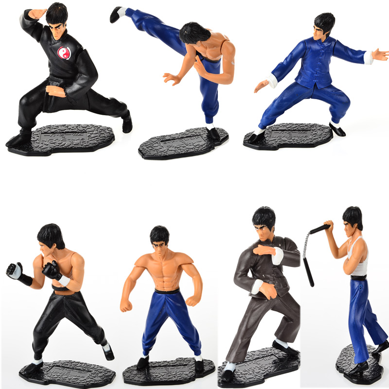7pcs/set Free Shipping Cool Bruce Lee Kung Fu PVC Action Figures Collection Toys(China (Mainland))