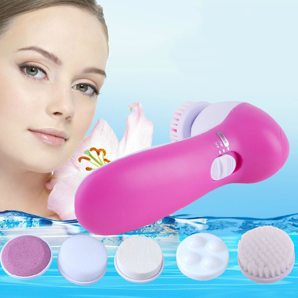 Hot!! Vibrator Beauty Tool 5 in1 Women Electric Face Care Cleaner Facial Massager Cleaning Machine Skin Care Face Clean Tool(China (Mainland))