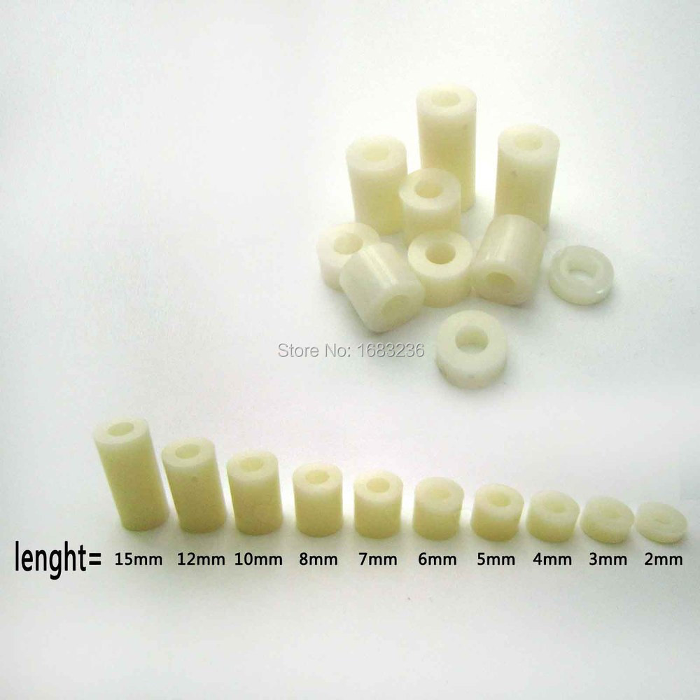 25pcs M3 Nylon ABS Plastic Non-Thread Round Standoff Spacer Washer Column ID 3mm