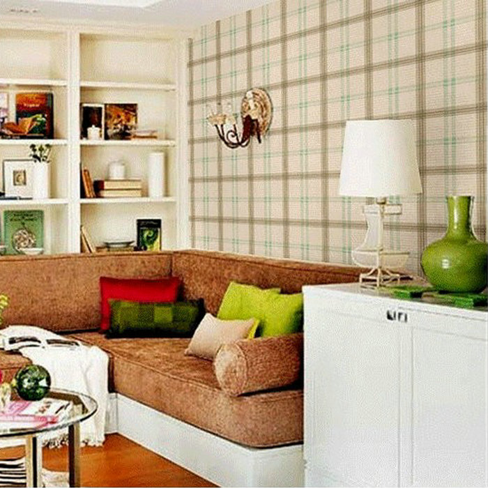 10m Roll Wallpaper British Style Wallpaper Plaid Wall Paper Roll Modern Country Living Room