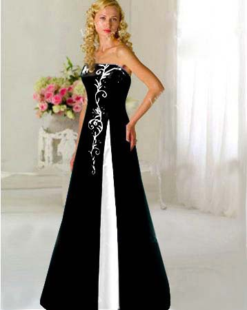 Custom Black White Embroidery Wedding Dress Bridal Gown