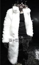 Mens long trench coat fur overcoat Black white 3color top fashion winter warm cappotto erkek palto winter jacket pea coat M-XXXL(China (Mainland))