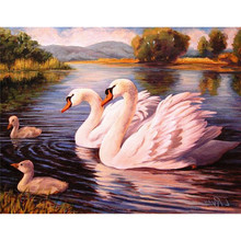 NEW 100% Full Square Drill Diamond Embroidery Swans Family Look Picture 3D Diamond Painting cross-stitch Mosaic kits Wall Decora(China (Mainland))