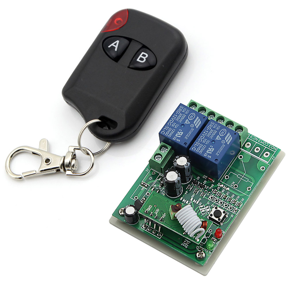 DC 12V 2 Channels  Smart Wireless Remote Control Switch Inching Self-locking AB Type Black Transmitter<br><br>Aliexpress