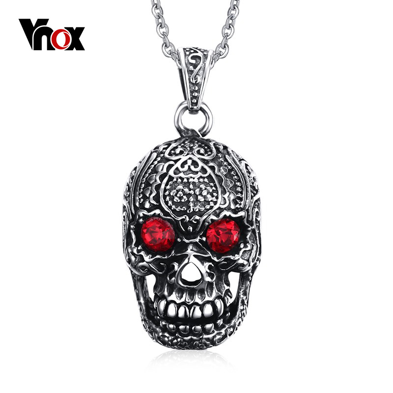 """Vnox Punk Men Necklace Stainless Steel Gothic Skull Pendant Necklace for Man with Red Cubic Zirconia Free 24"""" Chain(China (Mainland))"""