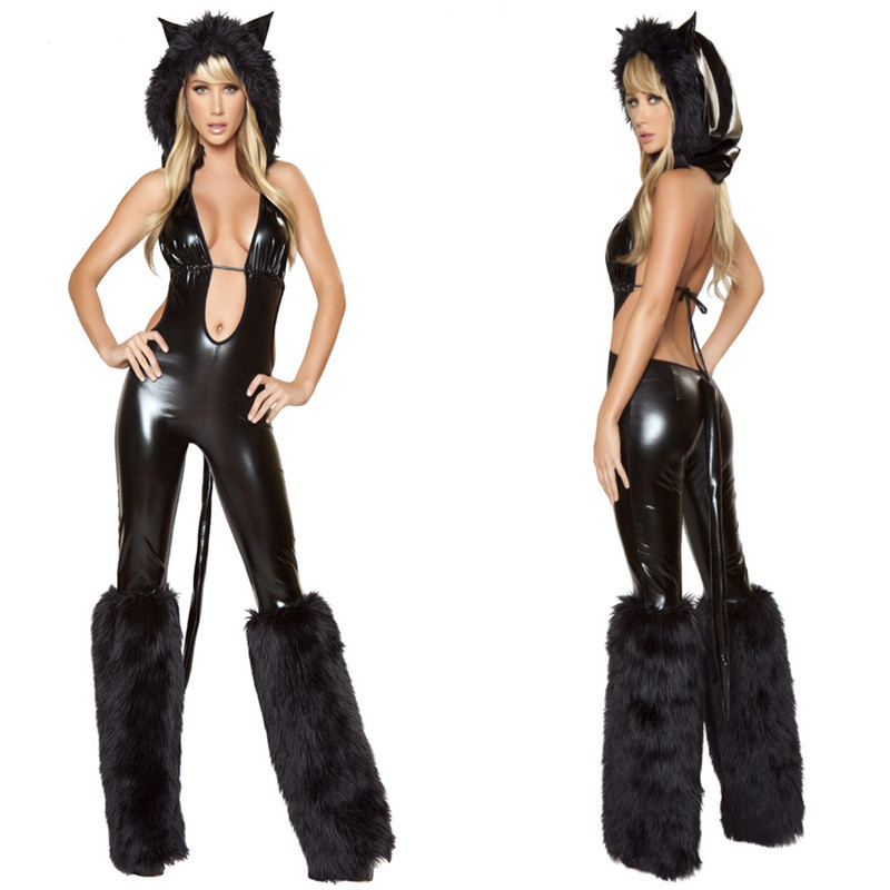 Sexy Lingerie Night club clothing leather pole dance dance with a Catwoman female Siamese cat black(China (Mainland))