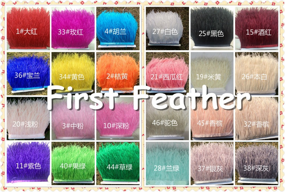 "2yard/Lot Height 4-6"" Natural Ostrich Feather fringe Ostrich feather Trimming on Satin Header 24 Colour Available freeshipping(China (Mainland))"