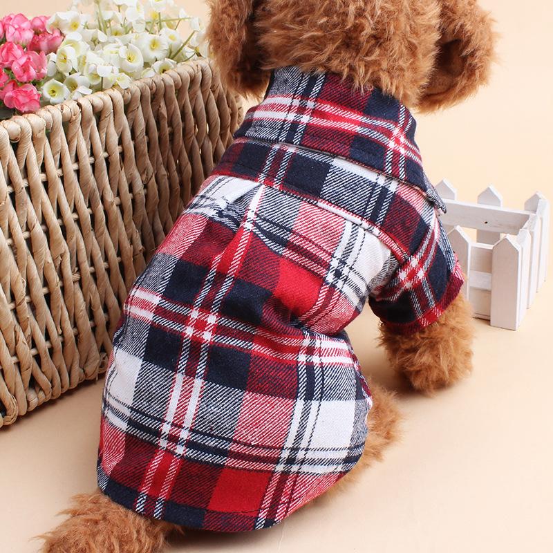 Hot Sale Pet Dog font b Plaids b font Grid Shirts Lapel T shirts Clothes For