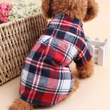 Hot Sale Pet Dog font b Plaids b font Grid Shirts Lapel T shirts Clothes For