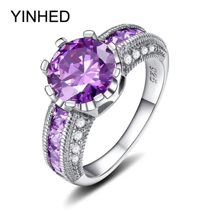 90% OFF !! YINHED Luxury Amethyst Jewelry Ring Solid 925 Sterling Silver Engagement Ring Purple CZ Wedding Rings for Women ZR212(China (Mainland))