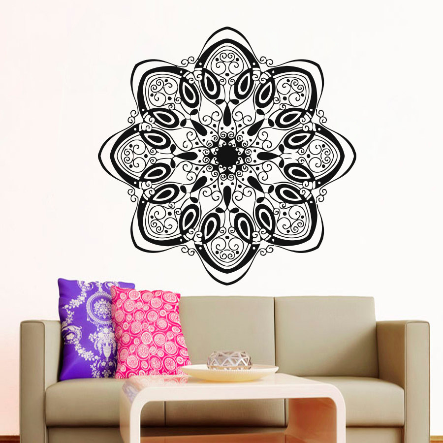 Modern Style Home Decor Mandala Indian Pattern Yoga Wall Sticker PVC Self Adhesive Flowers For Living Room