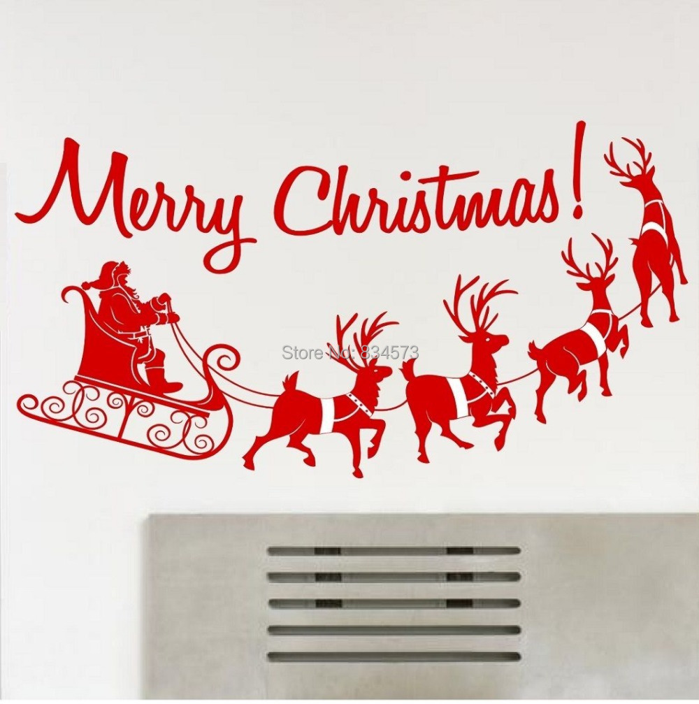 Merry christmas silhouette wall art stickers wall decal for Christmas wall mural plastic