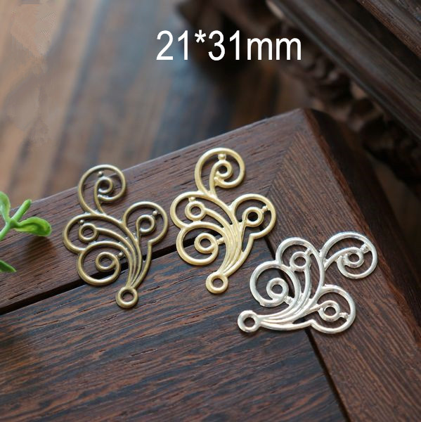 Free Shipping -20 pcs Curly Clouds Charm Pendant Metal Sheet,Silver,Gold,Antique Bronze,Made of Copper,Metal Flower For DIY(China (Mainland))