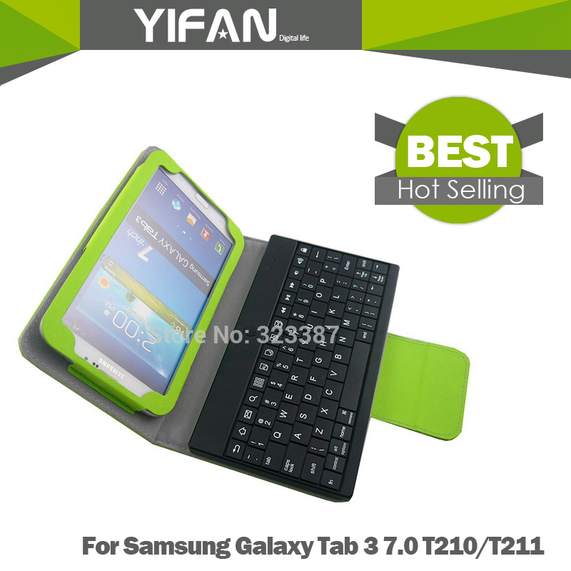 Wireless Bluetooth Keyboard Leather Case Cover For Samsung Galaxy Tab 3 7.0 T210/T211High Quality Leather Free Shipping<br><br>Aliexpress