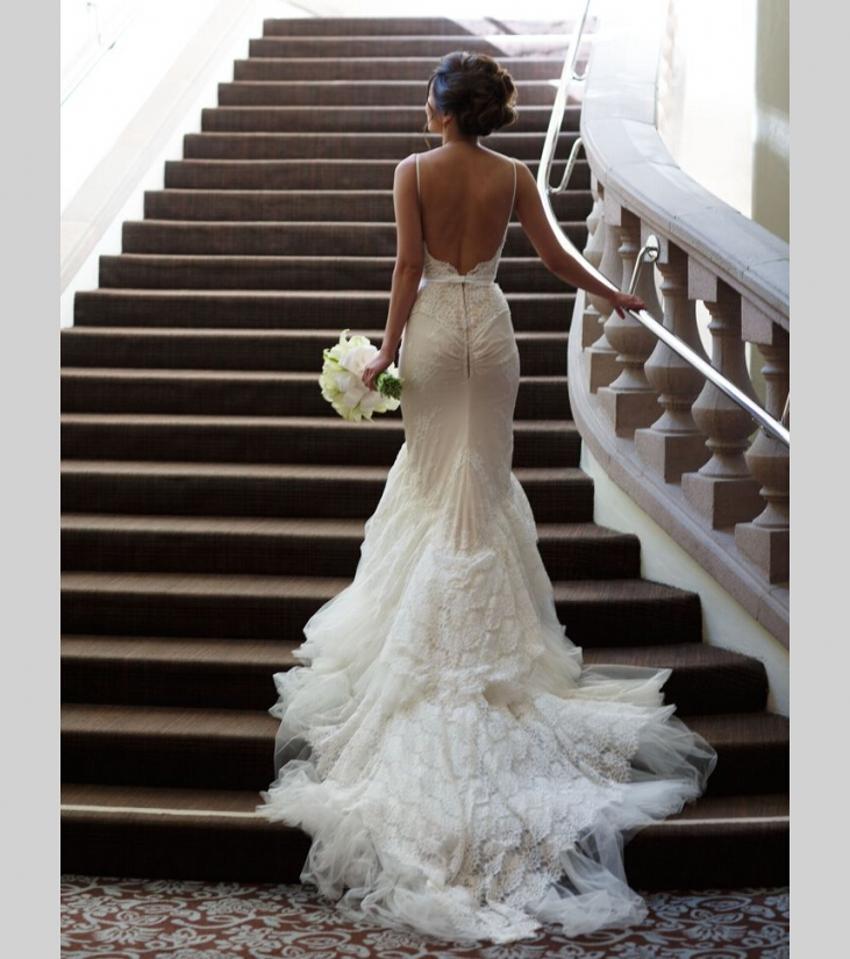 aliexpress buy lace mermaid backless wedding dress vestidos de novia robe de mariee