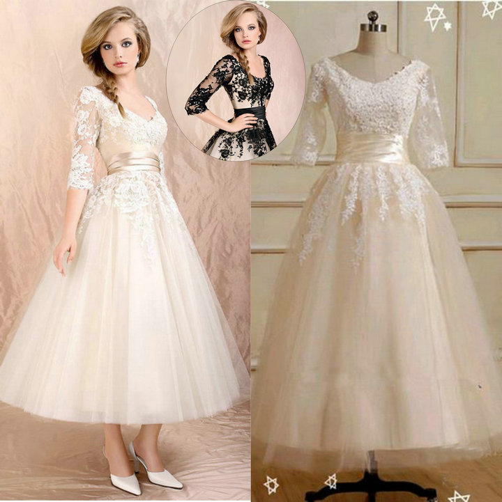 The popular wedding dress 2016 short three quarter sleeve for Ankle length wedding dress with sleeves