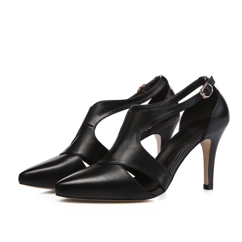 Black White Gold Cowhide Uppers Banquet Shoes For Women Sexy Fashion Pointy Toe Buckle Thin High Heels Elegant Pumps Shoe