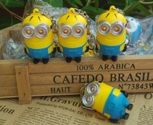 2015 New Minions Toys Cartoon Movie Despicable Me 2 3D Mini Minion Keychains PVC Action Figure Toys Retail And Wholesale(China (Mainland))