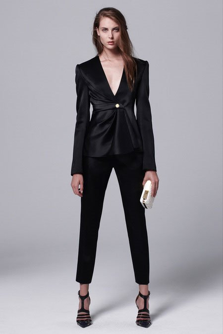 Free Shipping ! 2014 Early Spring Fashion European Style a Button Top + Long Pants Pure Black &amp; Rose Formal Pants Suit Îäåæäà è àêñåññóàðû<br><br>